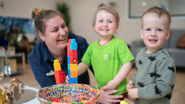 Two children in child care