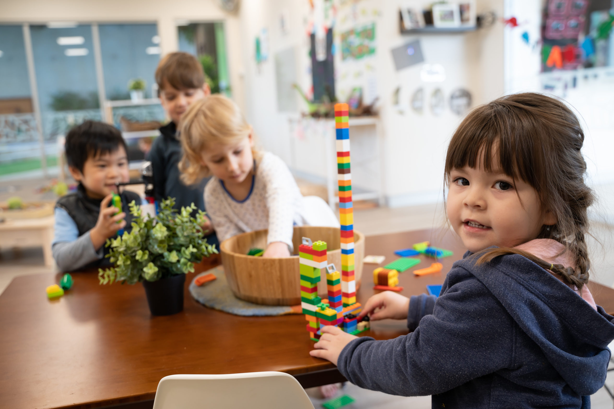 children playing with lego