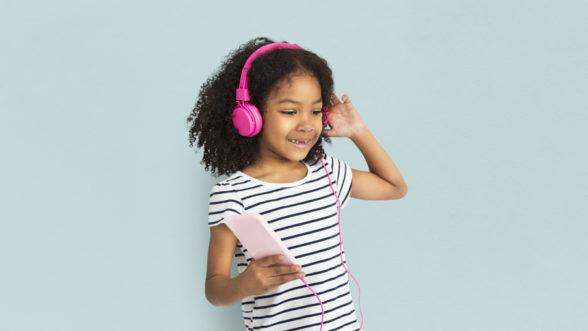 Girl listening to headphones